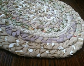 Beige Tan and Floral with Teal and Lace Accent Rug
