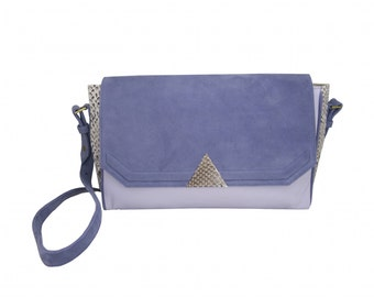 Bag graphic DELTA suede leather and natural python
