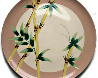 Vintage Hand Painted Weil Ware,  1950's Pink Malay Bambu Chop Plate, Vintage Serving Platter, Bamboo Decorated Large Platter, Home Decor
