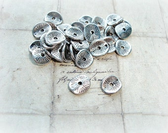 10 Silver Spacer Beads Wavy Curved