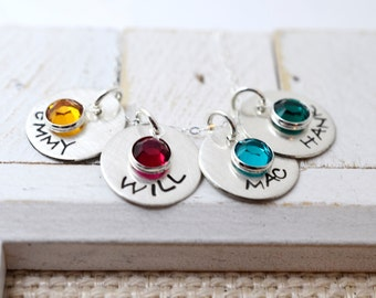 Handstamped Mommy Necklace with Kids Names, Personalized Birthstone Necklace Mother's Gift, Mommy,Mom, Gift for Mom