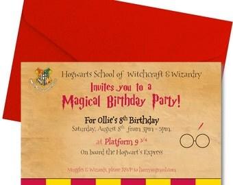 Harry Potter Birthday Party Invitation - Harry Potter Party Invite - Cute Harry Potter Invitation - Personalized - Hogwarts - Digital