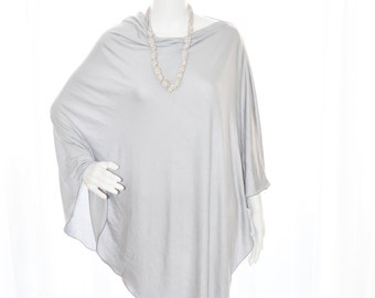 Silver Grey Nursing Poncho/ Lightweight shawl / Nursing Shawl/ One shoulder Tunic / New Mom Gift / Maternity Top/ Versatile Custom Poncho