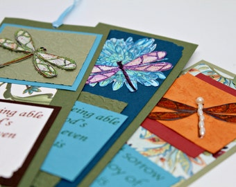 ON SALE: Dragonfly Bookmarks- Paper bookmarks- Unique bookmarks- Three different designs- You receive all three
