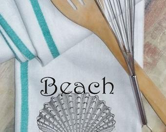Shell Kitchen Towel, Ocean Shell Towel, Linens, Herringbone Caribbean Green Stripe Towel, Ocean Whimsical, Sea Towel, Vintage, Beach Cottage