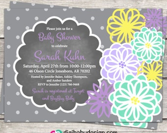 Girl baby shower invitation, Chalkboard baby shower invite, baby girl invite, purple and mint, printable invitation