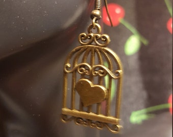 Caged Love Valentine's Earrings