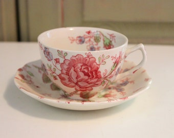 Vintage Rose Chintz Cup Saucer Teacup Johnson Brothers Made in England Ironstone Collectible China English Cottage Country Dish Home Decor