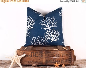 SALE ENDS SOON Navy Blue Throw Pillow Cover, Natural Coral Throw Pillow Case, Luxury Pillow Covers, 16 x 16