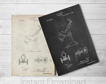 Antique Microscope Printables, Science Poster, Chemistry Art, Science Teacher, Pharmacy Gift, PP0132