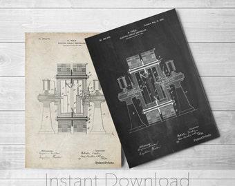 Tesla Electric Circuit Printables, Tesla Patent, Technology Art, Engineer Gift, PP0423
