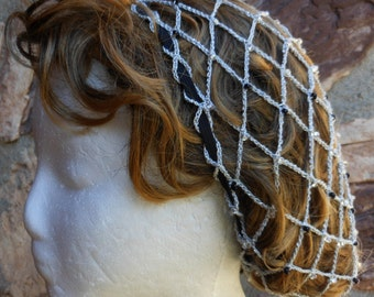Renaissance Snood Hair Net Metallic Silver Thread With Czech Glass Crystal, Silver Lined & Black Pearl Beads Nape of Neck Length Hair