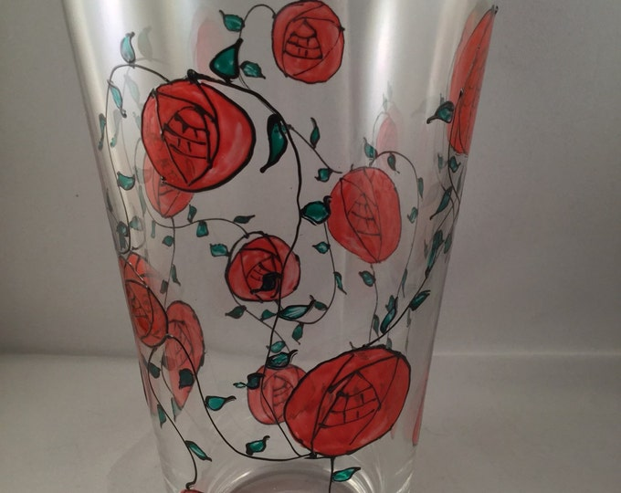 Red Art Nouveau Rose Vase