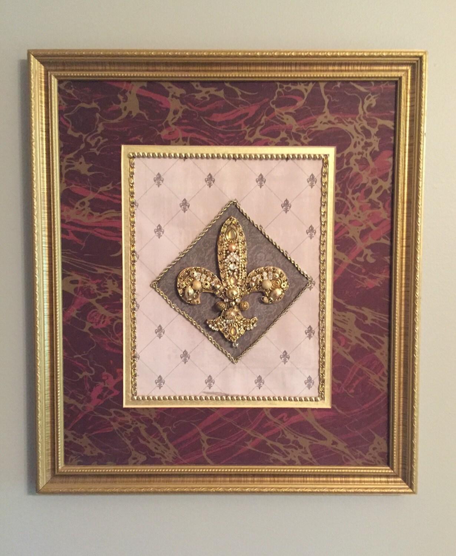 Framed Fleur De Lis Jewelry Art Wall Hanging