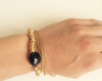 Necklace/doubled bracelet gold plated Black Onyx stone