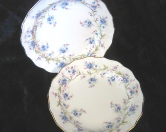 "2 Duchess ""Tranquillity"" Butter Plates, Blue Forget-me-Not Flowers"