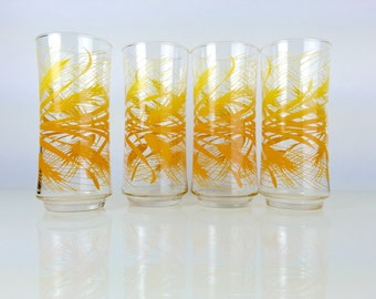 Vintage Libbey Golden Wheat Glasses Set of 4