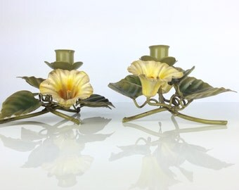 Vintage Tole Italian Candle Holders - Pair