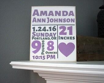 """12x14"""" Birth Stats Wood Sign"""