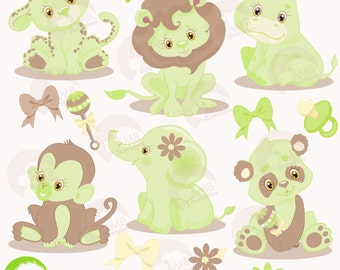 Jungle Animals Clipart, Jungle Animal Babies Clipart, Green Baby Animals, Jungle Clip Art, Commercial Use, AMB-1213