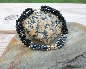 Black, Gold and Gray Beaded Bracelet