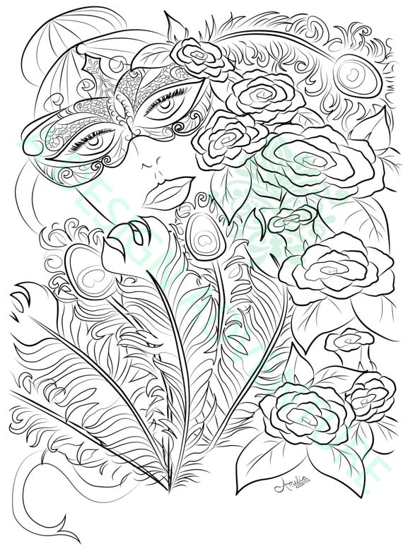 adult coloring book printable page mardi gras coloring book masquerade mask coloring page peacock coloring page fantasy coloring page - Mardi Gras Coloring Pages