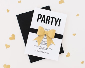 Gorgeous Black and Gold Party Invitations-set of 10