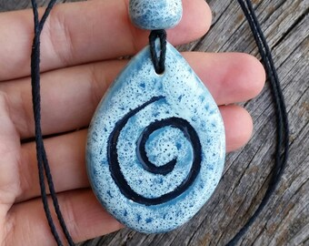 Ocean Blue Swirl Necklace, Handmade Ceramic Necklace on Bamboo Cord