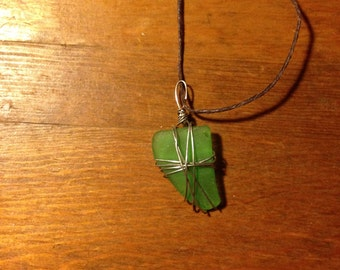 Green Hand-wrapped Sea Glass Necklace