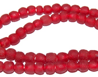 Recycled Glass Beads - Red Glass Beads 9mm - African Beads - Eco-Friendly-  Made in Ghana- red round beads - 20 Beads