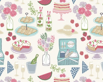 Lewis & Irene Patchwork Quilting Fabric Picnic in the Park A153.1 Picnic on white