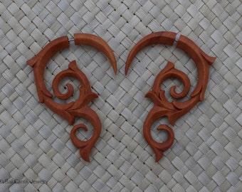 Double Swirl Fake Gauge Earrings, Saba Wood Fake Gauge, Fake Piercings