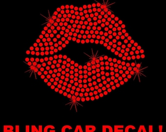Lips Kiss Love Red Heart Rhinestone Car Decal Bling