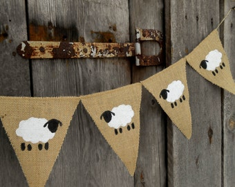 Sheep Banner Lamb Banner Easter Banner Lamb Bunting Nursery Banner Baby Shower Banner Sheep Decor Lamb Decor Easter Decor Christening Banner
