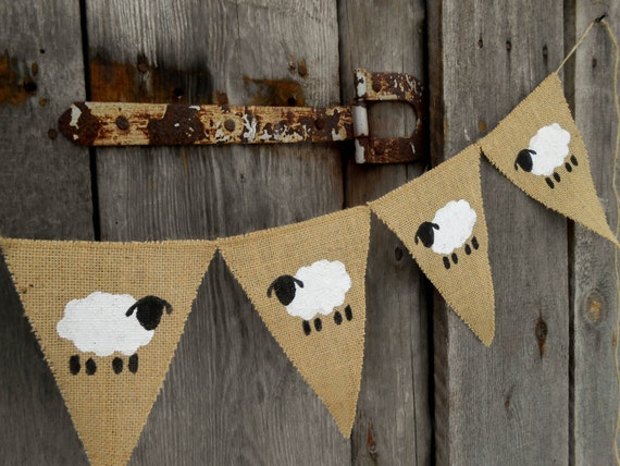 Sheep Banner Lamb Banner Easter Banner Lamb Bunting Nursery