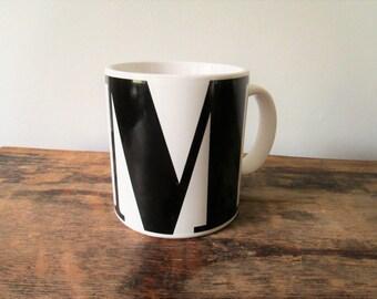 Vintage M initial Coffee Mug