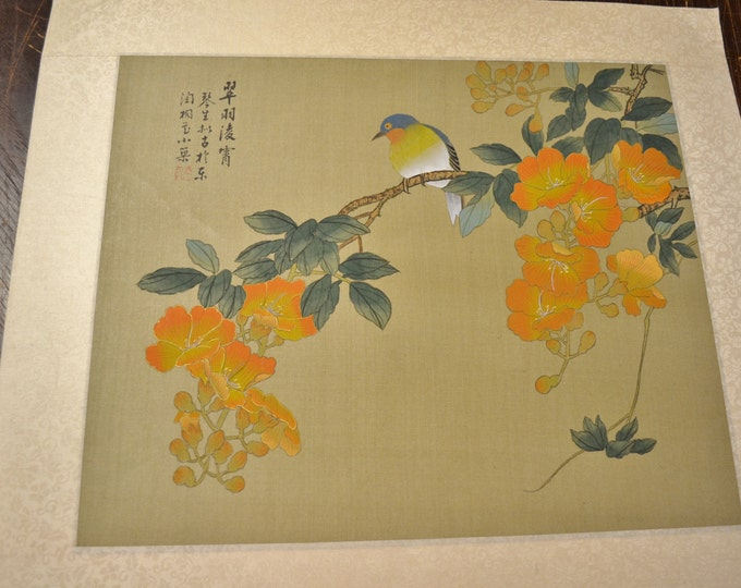 Vintage Silk Painting Bird on Branch Flowers Signed Japanese Panchosporch