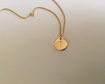 Lovely Stamped Letter T Necklace