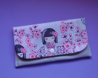 KOKESHI Japanese doll clutch, wallet, purse, glasses case