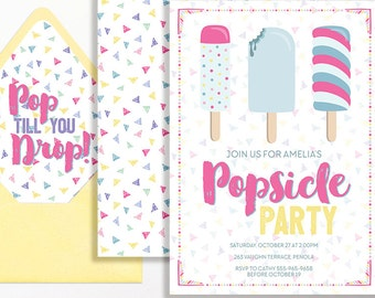 Popsicle Party Invitation Ice Cream Party Printable Pink Blue Yellow Purple Ice Cream Social Girls Birthday 1st 2nd 3rd 4th 5th 6th 7th 8th
