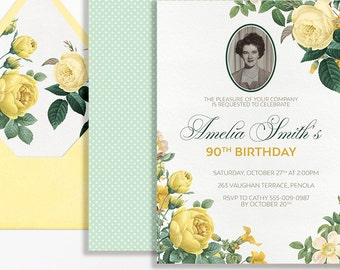 90th Birthday Invitation Photo Yellow Roses Floral Flowers Printable Suitable for 60th 80th 70th 50th 90th Milestone Birthday Mint Green