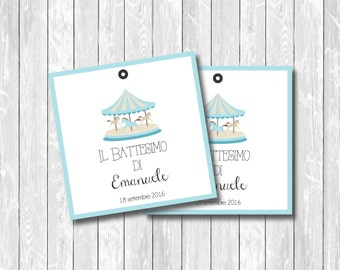 PDF carousel printable favor tags  for birthday and baby shower, digital wedding tags, diy party tags