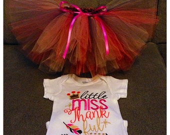 Little Miss Thankful tutu outfit, Little Miss Thankful shirt, newborn-5 yo