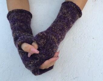 Sale Knit Fingerless gloves Mittens  Long Arm Warmers Boho Glove Women Fingerless Wrist multicolored gloves Ready to ship!