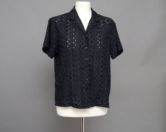 Black Broderie Anglaise Shirt Size UK 10