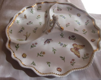 I. Godinger & Co. 'Primavera' Three-Part Serving Platter with Central Handle. Butterflies, Bees, Dragonflies, Ladybugs and Flowers