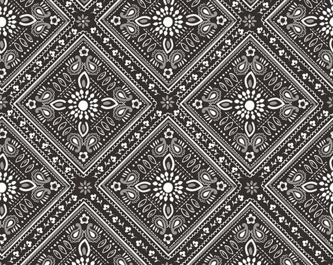 One Yard Luckie - Bandana in Black - Cotton Quilt Fabric - by Maude Asbury for Blend Fabrics - 101.115.07.2 (W3464)