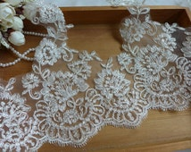 Ivory Lace Trim with Silver Thread for Wedding Gown, Bridal Veils, Costume or Jewelry Design