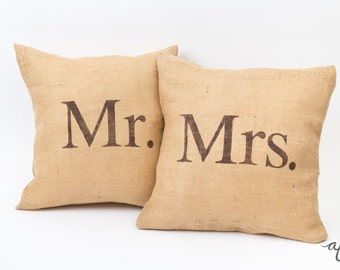 Mr. and Mrs. Pillows, Burlap, Rustic, Wedding, Throw Pillows