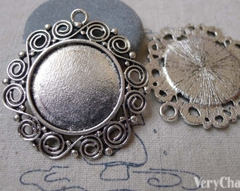 Antique Silver Round Cameo Base Settings Match 25mm Cabochon Set of 6 A7027